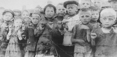 Photo: Polish children imprisoned in Auschwitz, Poland, 1944.